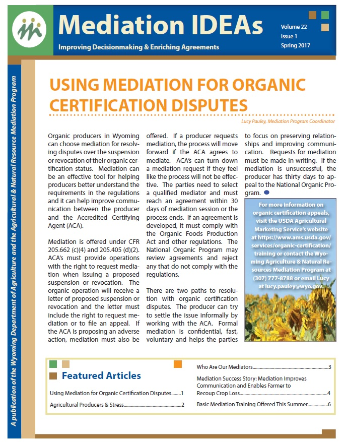 front page of Mediation IDEAS newsletter