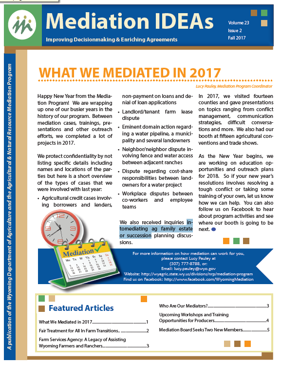 front page of the Mediation Newsletter