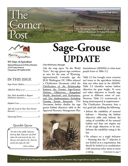 Cornerpost Newsletter - Summer/Fall 2017
